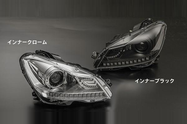 「EVOLUTION Fシリーズ」「全2色」メルセデスベンツ W204 Cクラス 3Dエンジェルアイ ヘッドライト //mercedes/benz/Class/Sedan/C-Class/WAGON/セダン/ワゴン/ランプ/クローム/メッキ/ブラック/プロジェクター/