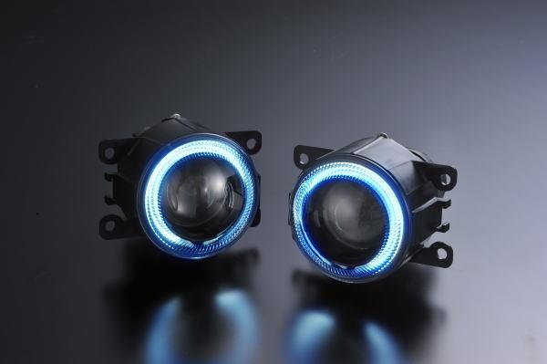スズキ汎用 CCFLイカリングプロジェクターフォグランプ クリアレンズ×ブルーリング //DA17Wエブリイワゴン/JB64Wジムニー/ハスラー/スペーシア/HA36Sアルトワークス/ワゴンRスティングレー/ZC33Sスイフトスポーツ/MA15Sソリオバンディット