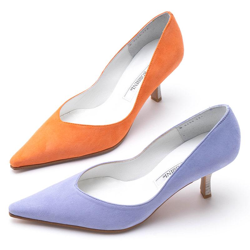【ROSSINI】大人気のカラースエード☆ふんわりかわいいミルキーカラー☆パープル&オレンジ☆なじませ色も差し色も☆ラインのキレイなパンプス/ORS、PAPS・ヒール6cm