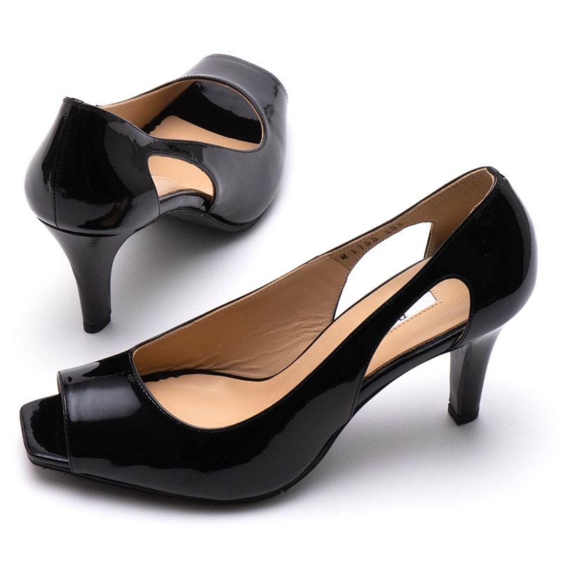 【ROSSINI】シンプルなブラックカラーが美しい☆ライン&カッティングがきれいなスクウェアオープントゥ/BLE・ヒール7cm 日本製 パンプス 黒 Black フォーマル 21.5 25.5