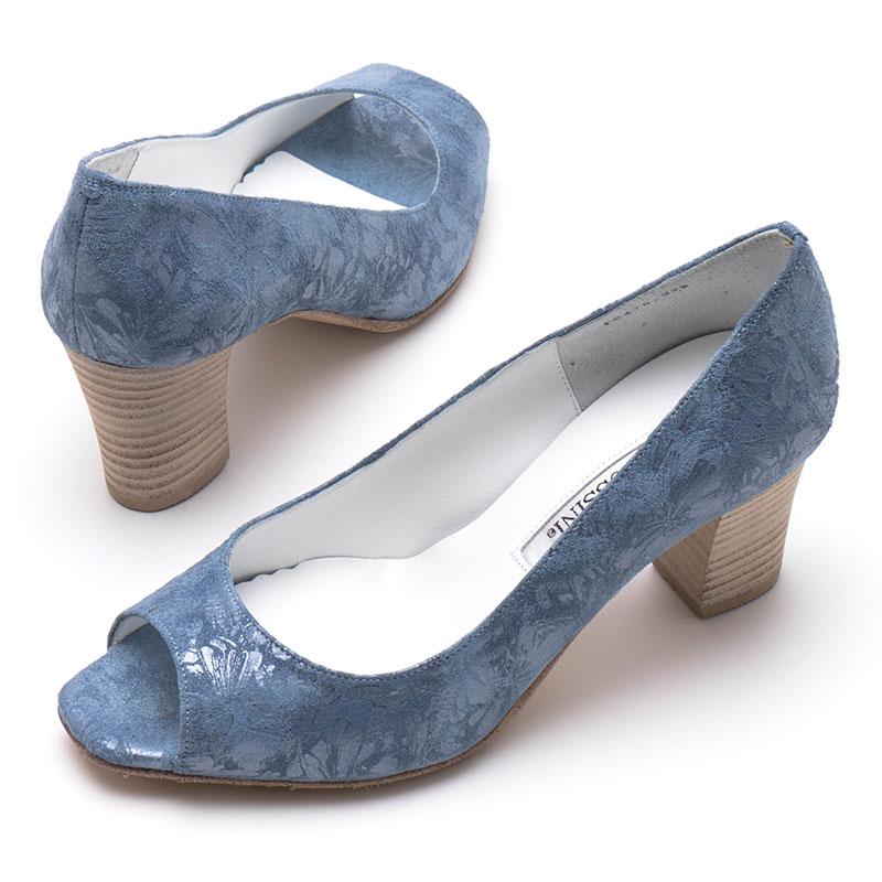 【ROSSINI】グラデーションブルーの箔押素材☆花模様の透かし加工がかわいい☆太ヒールのスクウェアオープントゥパンプス/BUAN・ヒール6cm