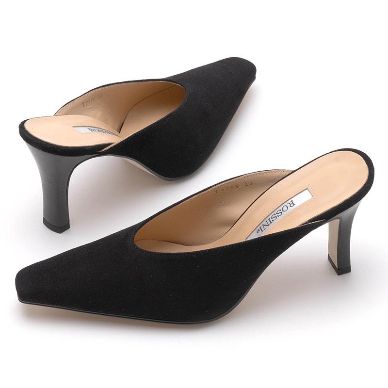 【ROSSINI】新型ミュール☆シンプルなブラックスエード☆エレガントラインが美しい☆甲魅せきれいな深履きミュール/BLS・ヒール8cm