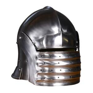 西洋甲冑 中世ヨーロッパ サレット兜 ナイトヘルメット プレートアーマー 騎士 防具 防御 鉄 スチール 革 あご紐