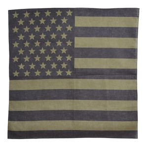 アメリカの国旗、星条旗が大胆にあしらわれたバンダナ ROTHCO バンダナ アメリカ 星条旗 [ ブラックオリーブドラブ / Sサイズ ] ロスコ Rothco ミリタリーバンダナ ハンカチ スカーフ カーチフ
