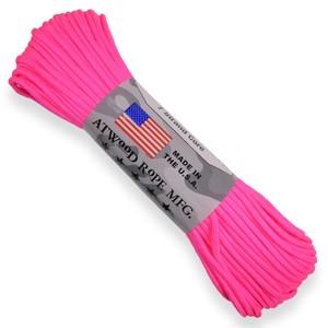 ピンクのネオンカラーが鮮やかな550パラコード ATWOOD ROPE 550パラコード タイプ3 ホットピンク ネオン 激安特価品 アトウッドロープ neon hotpink パラシュートコード ナイロンコード 靴紐 550コード 蛍光 入手困難 シューレース 防災 綱 靴ひも
