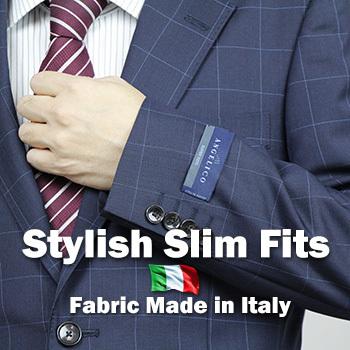 【春夏】【送料無料】【スリムフィット】イタリア製高級生地『アンジェリコ』仕立て2ツボタン・スタイリッシュ・スリムフィット・スーツ