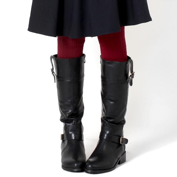 ペタンコ ロングブーツ ジョッキーブーツ 大きいサイズ 3L 25cm 3E EEE ff109 茶色 ブラウン 黒 ブラック ローヒール 痛くない ぺたんこ 歩きやすい あったか 裏起毛 防寒 3cmヒール レディース靴 reward 靴 レディース コスプレ