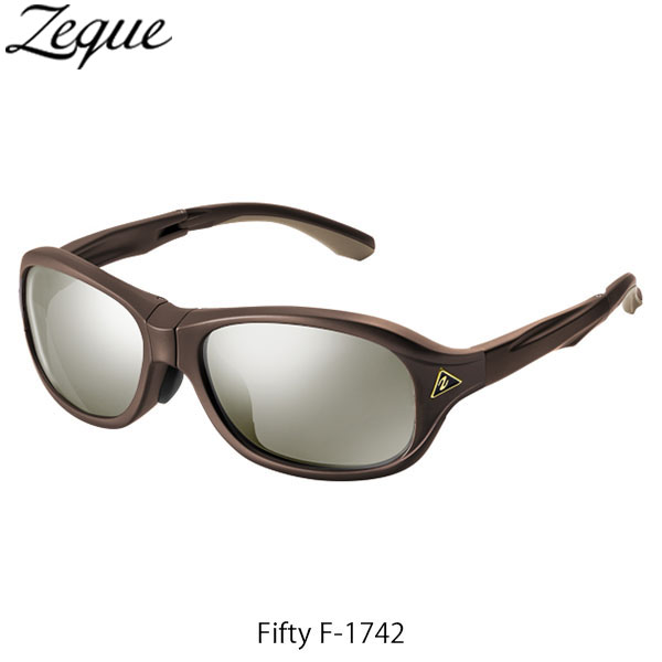 送料無料 Zeque ゼクー ジールオプティクス ZEAL OPTICS 折りたたみ式偏光サングラス Fifty F-1742 フィフティ フレームSHINY BROWN レンズTRUEVIEW SPORTS×SILVER MIRROR GLE4580274167280