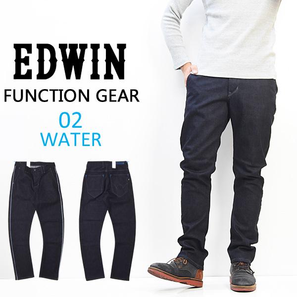 EDWIN エドウィン EDWIN FUNCTION GEAR WATER-GEAR レギュラーテーパード ジーンズ デニム 撥水 立体裁断 日本製 メンズ 送料無料 EFG002-100