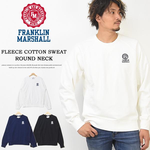 FRANKLIN&MARSHALL フランクリンマーシャル ロゴ刺繍 スウェットシャツ トレーナー 裏起毛スウェット ワンポイント ラグランスリーブ クルーネック メンズ 送料無料 50181-4019 FLMF051AN