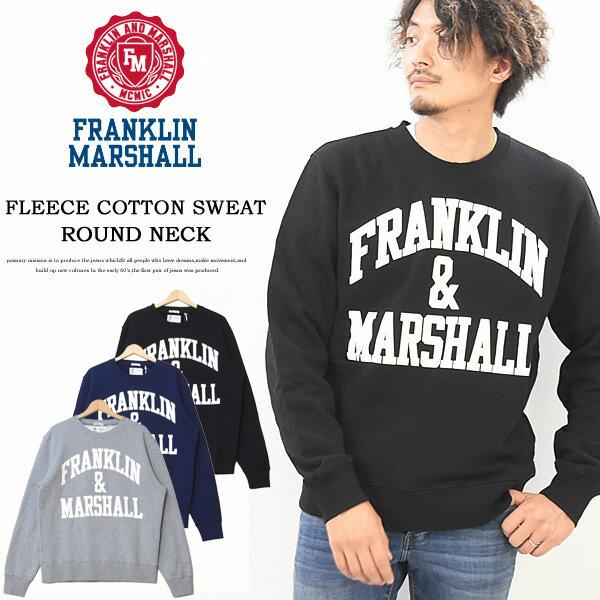 FRANKLIN&MARSHALL フランクリンマーシャル ロゴプリント スウェットシャツ トレーナー 裏起毛スウェット アーチロゴ ロゴスウェット ビッグロゴ クルーネック メンズ 送料無料 50181-4030 FLMF065AN