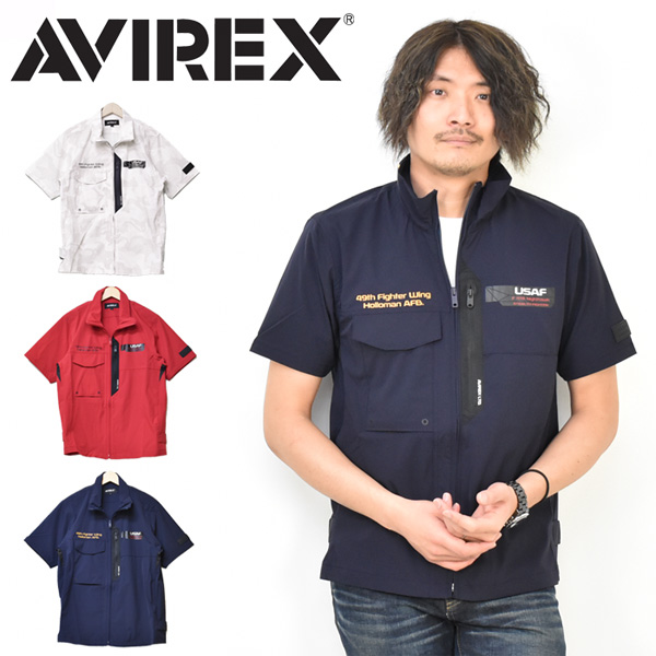 AVIREX アビレックス 半袖 ナイトホーク スタンド ジップシャツ 半袖シャツ ライトアウター メンズ ナイロンジャケット 羽織り アヴィレックス 送料無料 6105093