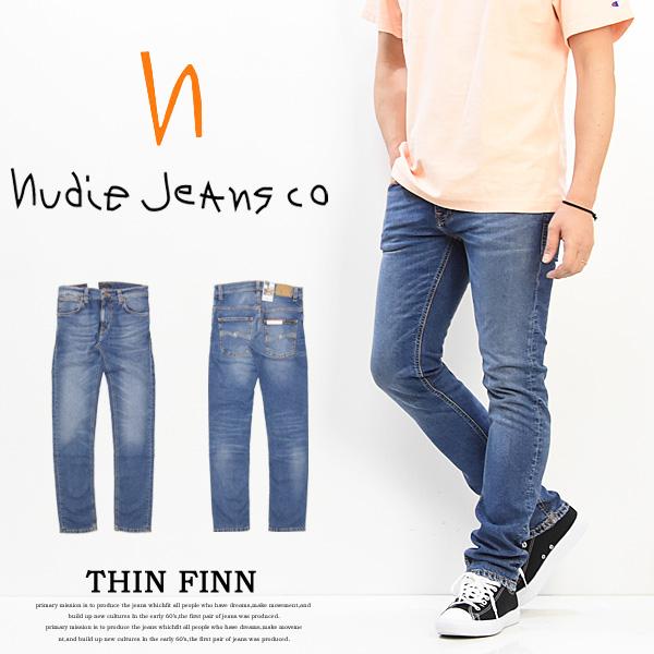 Nudie Jeans ヌーディージーンズ THIN FINN シンフィン スキニーストレート ストレッチデニム メンズ MID BLUE ECRU 112943 送料無料
