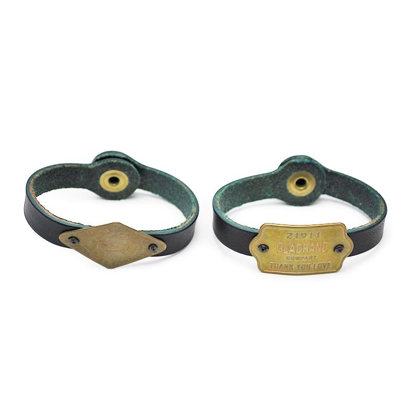 GLAD HAND & Co. GH TAG - NARROW BRACELET (NAVY) ドッグタグ ナロー /レザー ブレスレット【GANGSTERVILLE/ギャングスタービル/WEIRDO/ウィアード/OLD CROW/オールドクロウ】