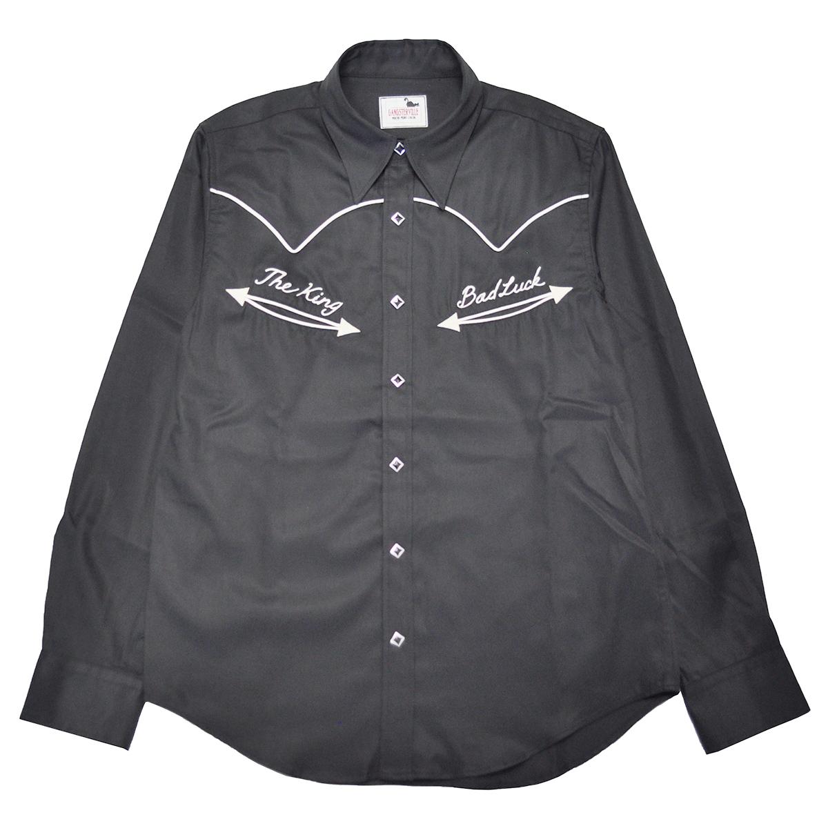 GANGSTERVILLE BAD LUCK - L/S SHIRTS (BLACK) ギャングスタービル ウエスタン 長袖シャツ/GLADHAND【WEIRDO/ウィアード/OLD CROW/オールドクロウ】