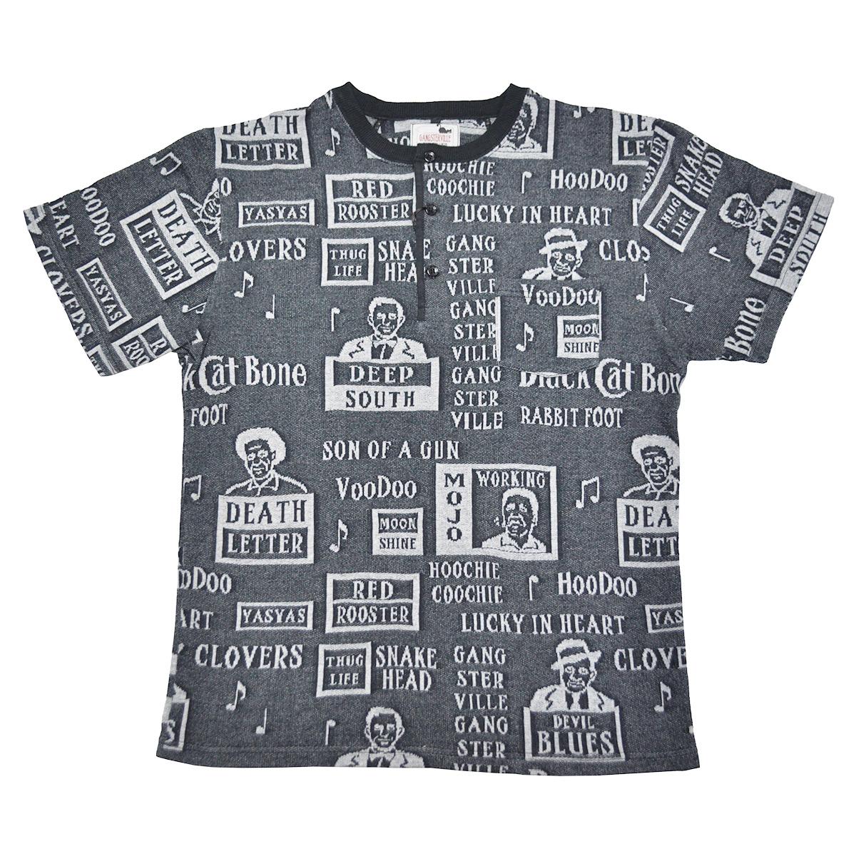 【期間限定クーポン 8/10.23:59まで】【残りSサイズのみ】【HENRY NECK】GANGSTERVILLE MOJO - S/S T-SHIRTS (BLACK) ギャングスタービル 総柄 ジャガード 半袖 ヘンリーネック ポケット Tシャツ/GLADHAND【WEIRDO/ウィアード/OLD CROW/オールドクロウ】