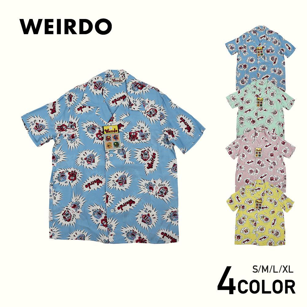 ウィアード 総柄 オープンカラー 半袖シャツ 開襟シャツ メンズ WEIRDO WGLIES - S/S SHIRTS GLADHAND/グラッドハンド/GANGSTERVILLE/ギャングスタービル/OLD CROW/オールドクロウ