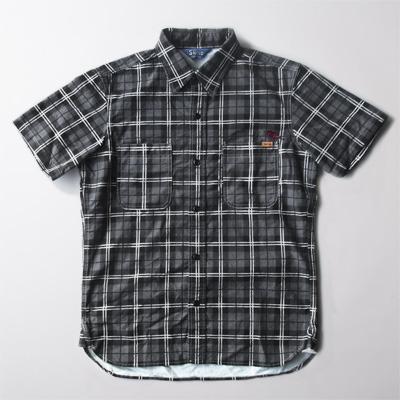 【残りMサイズのみ】SNOID Bird nel S/S SHIRTS (Gray) スノイド 半袖 チェックシャツ