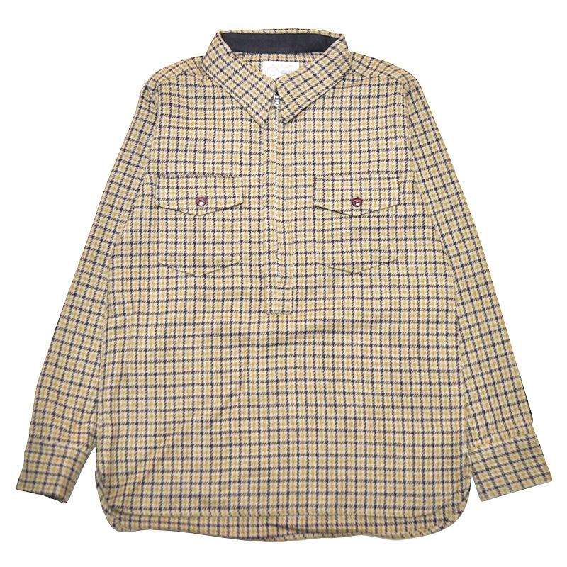 【残りMサイズのみ】5 WHISTLE HOUND TOOTH SHIRT(BROWN) ファイブ ホイッスル ハーフジップシャツ North No Name ノースノーネーム