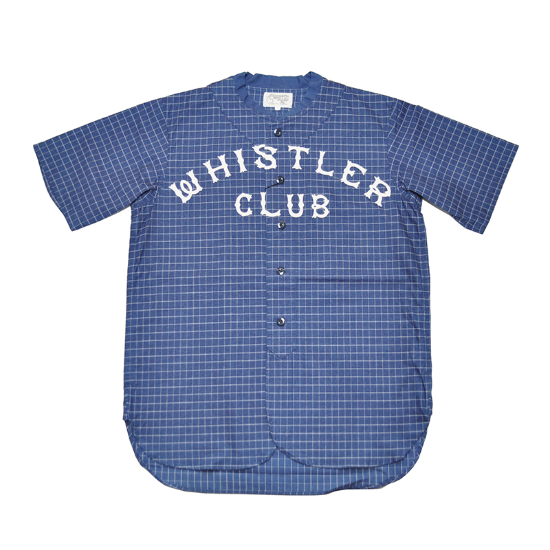 5 WHISTLE WHISTLER BASEBALL JERSEY (INDIGO BLUE)ファイブホイッスル インディゴチェック ベースボールシャツ 【NORTH NO NAME/ノースノーネーム】