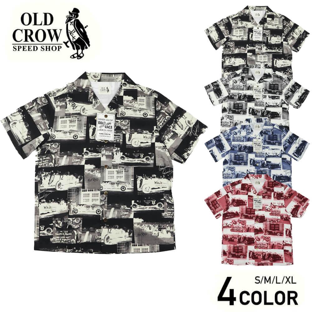 オールドクロウ 総柄 オープンカラー 半袖シャツ メンズ 開襟シャツ OLD CROW RACING FOR LIFE - S/S SHIRTS GLADHAND グラッドハンド GANGSTERVILLE ギャングスタービル WEIRDO ウィアード