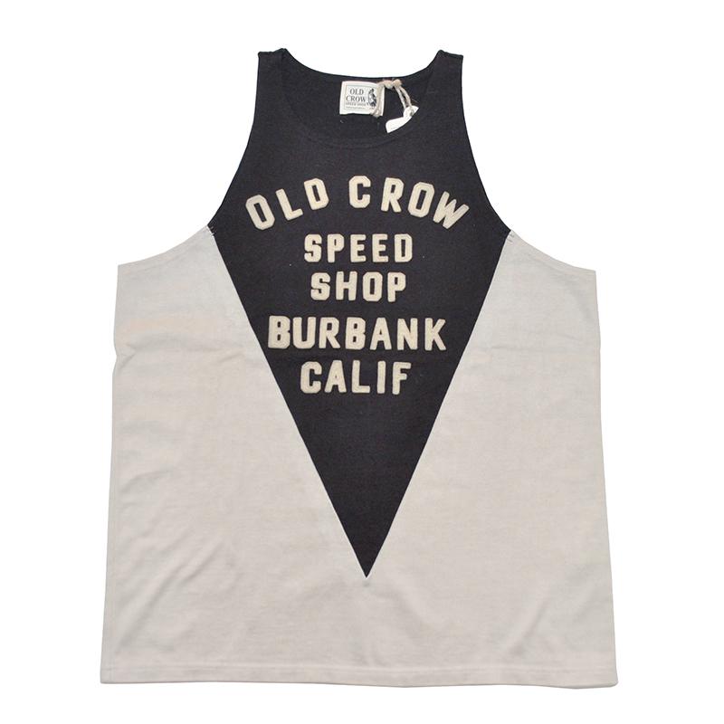 OLD CROW MOTORCYCLE - TANK TOP (IVORY/BLACK)オールドクロウ モーターサイクル タンクトップ /SPEED SHOP/スピードショップ/GLADHAND【GANGSTERVILLE/ギャングスタービル/WEIRDO/ウィアード】
