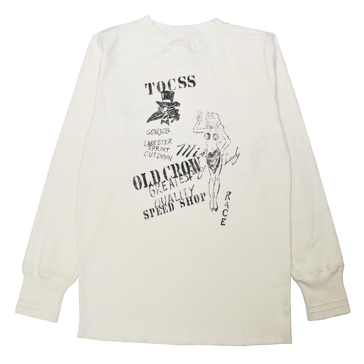 【期間限定クーポン 8/10.23:59まで】【残りSサイズのみ】OLD CROW LUCKY LADY - THICK HENRY L/S T-SHIRTS (WHITE)オールドクロウ ヴィンテージ加工 長袖Tシャツ /SPEED SHOP/スピードショップ/GLADHAND【GANGSTERVILLE/ギャングスタービル/WEIRDO/ウィアード】