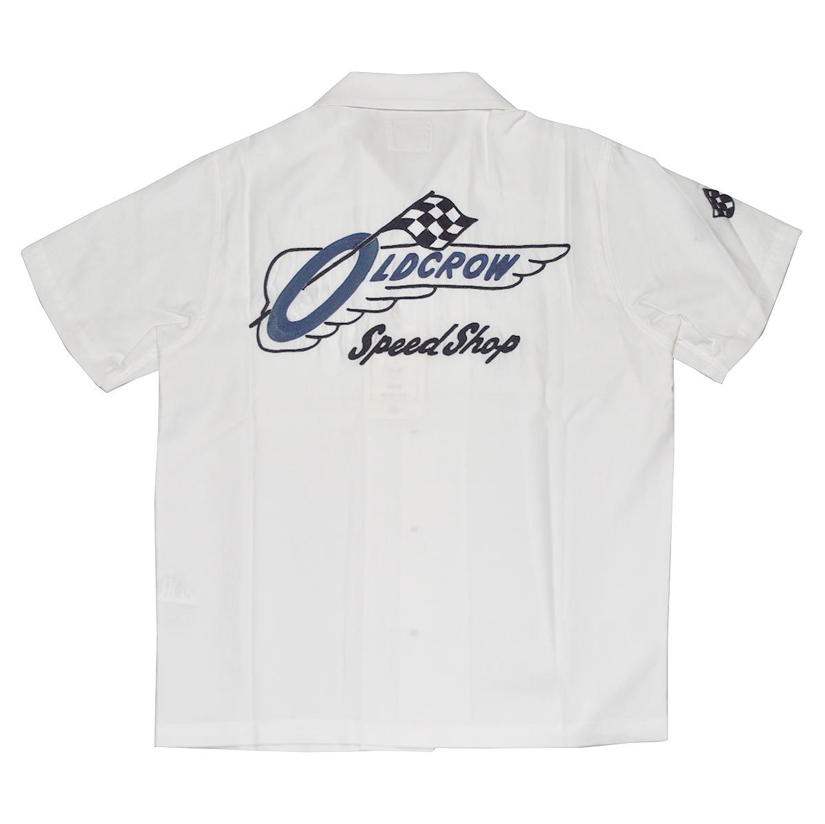 OLD CROW RACING - S/S SHIRTS (WHITE) オールドクロウ スピードショップ 半袖 オープンカラーシャツ/開襟シャツ/GLADHAND【GANGSTERVILLE/ギャングスタービル/WEIRDO/ウィアード】