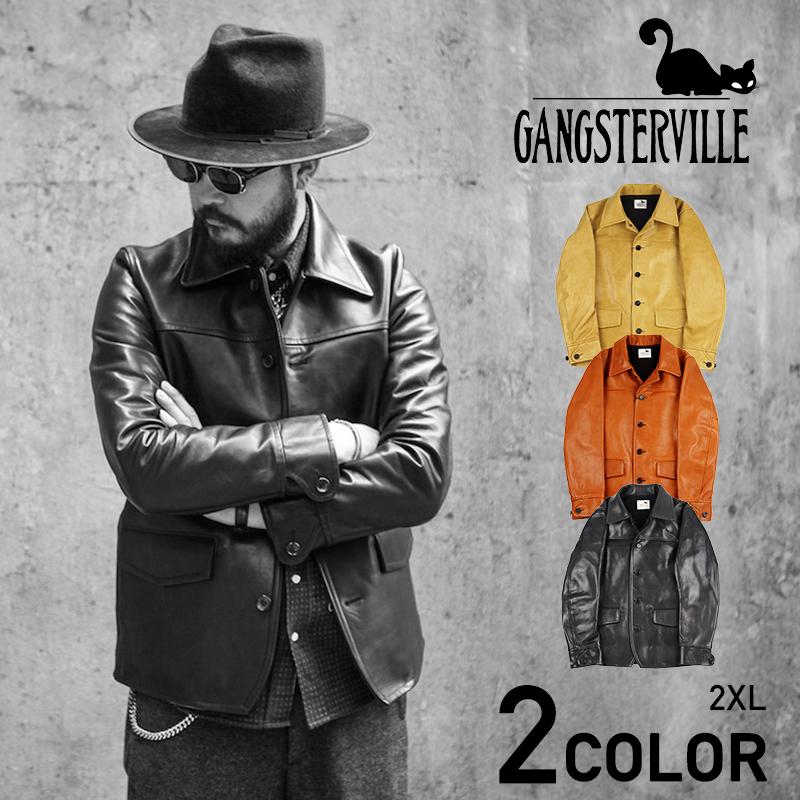 2XL:ギャングスタービル ホースハイド カーコート メンズ レザージャケット 革ジャンGANGSTERVILLE 30'S CAR - COAT