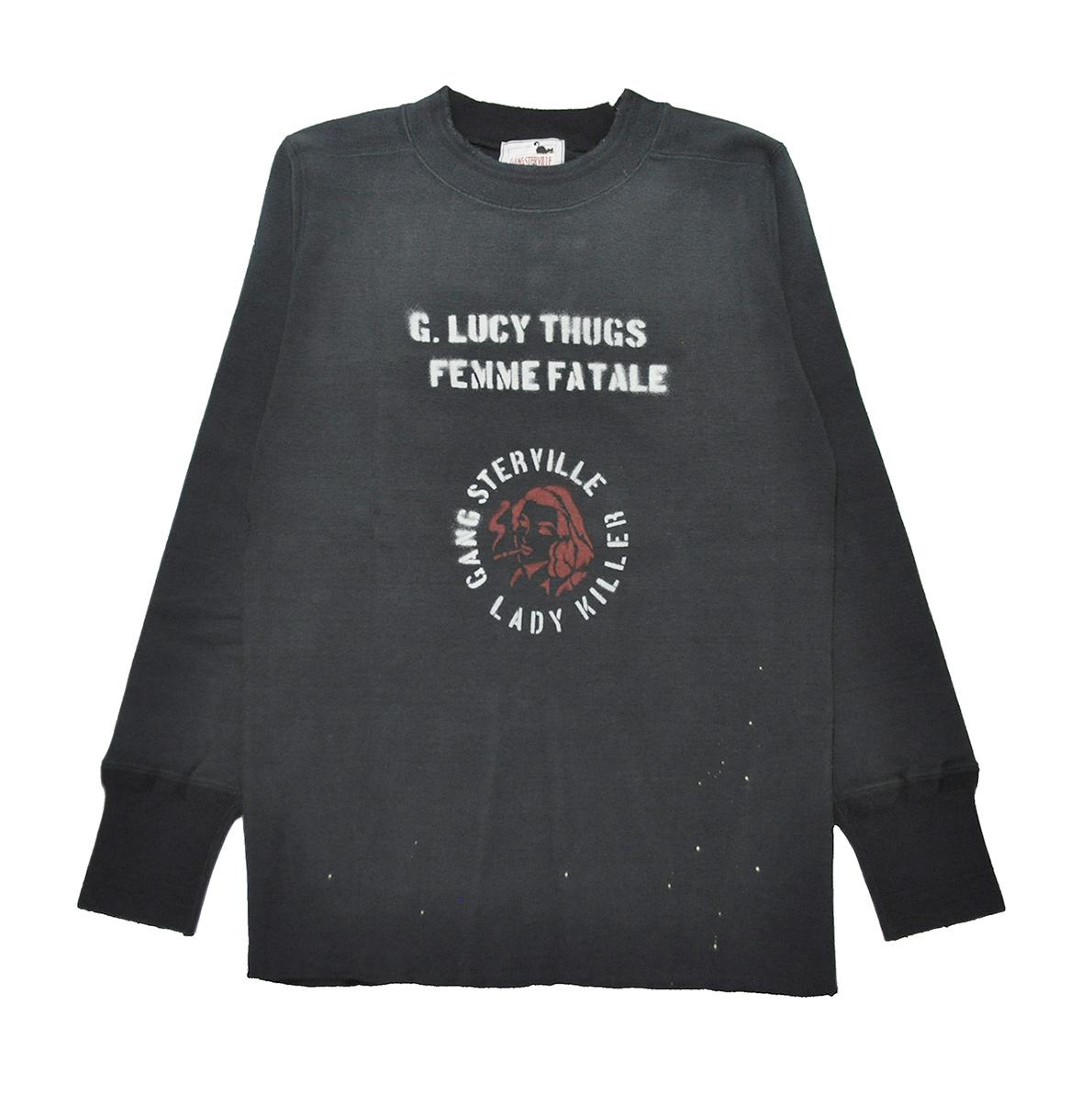 【期間限定クーポン 8/10.23:59まで】【残りS・Mサイズのみ】GANGSTERVILLE LADY KILLER THICK L/S T-SHIRTS (BLACK) ギャングスタービル ビンテージ加工 長袖Tシャツ/ロンT/GLADHAND/グラッドハンド/WEIRDO/ウィアード/OLD CROW/オールドクロウ