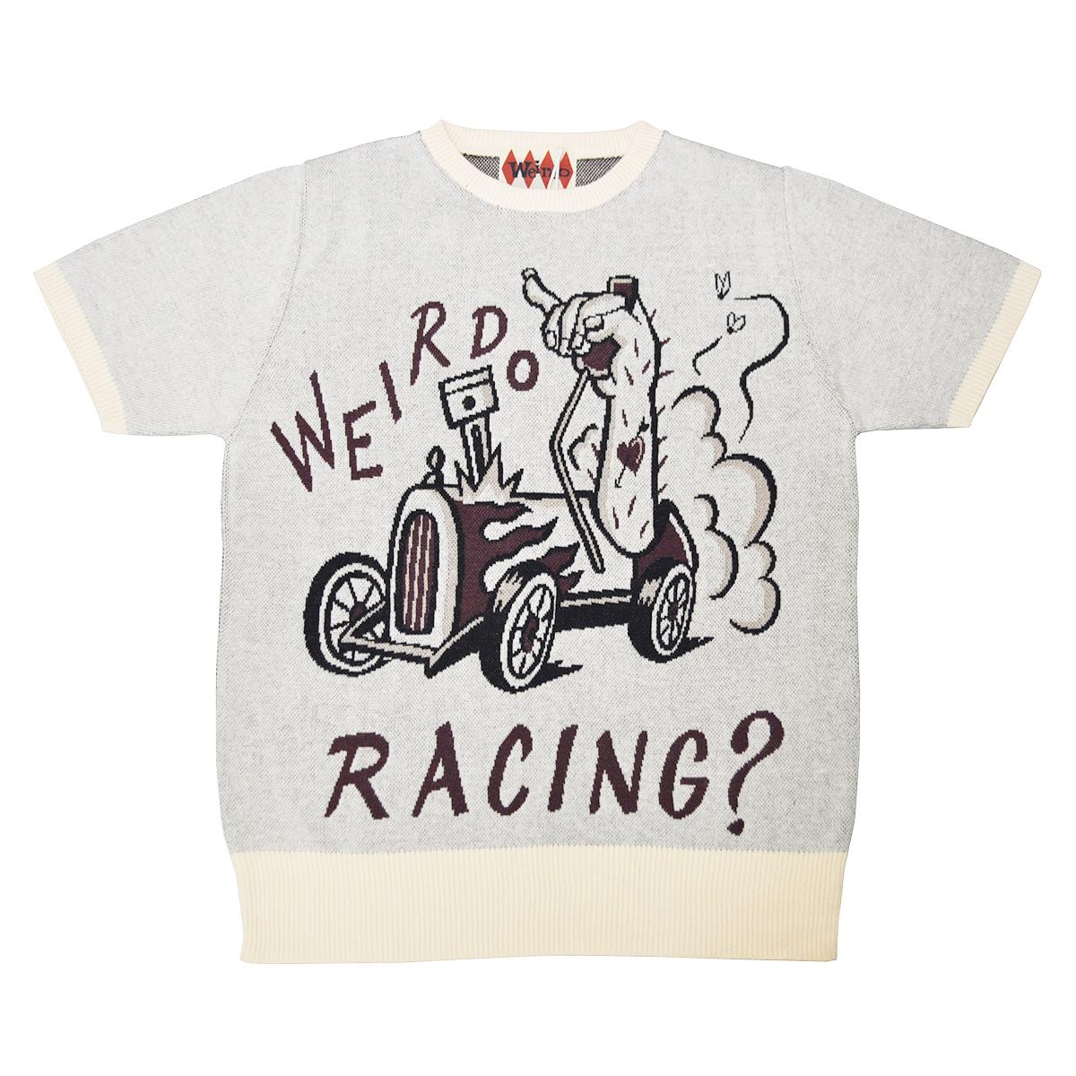 【残りS・Mサイズのみ】WEIRDO WRD ROD - S/S SWEATER (RACING?/IVORY)ウィアード 半袖セーター/サマーニット/GLADHAND【GANGSTERVILLE/ギャングスタービル/OLD CROW/オールドクロウ】