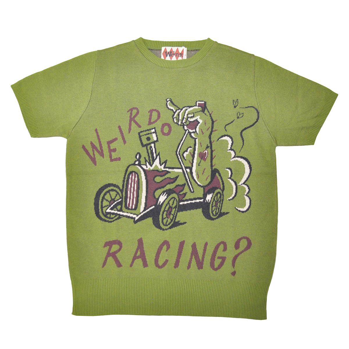 【残りS・Mサイズのみ】WEIRDO WRD ROD - S/S SWEATER (RACING?/GREEN)ウィアード 半袖セーター/サマーニット/GLADHAND【GANGSTERVILLE/ギャングスタービル/OLD CROW/オールドクロウ】