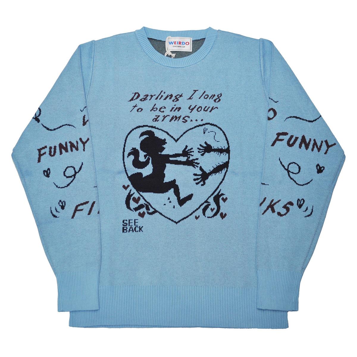 【残りLサイズのみ】WEIRDO FUNNY LOVE - SWEATER (SAX)ウィアード ジャガードセーター/GLADHAND【GANGSTERVILLE/ギャングスタービル/OLD CROW/オールドクロウ】