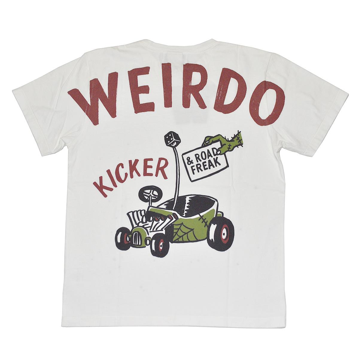 【残りSサイズのみ】WEIRDO ROAD FREAK KICKER - S/S T-SHIRTS (WHITE) ウィアード ユーズド ビンテージ加工 Tシャツ/GLADHAND/グラッドハンド/GANGSTERVILLE/ギャングスタービル/OLD CROW/オールドクロウ