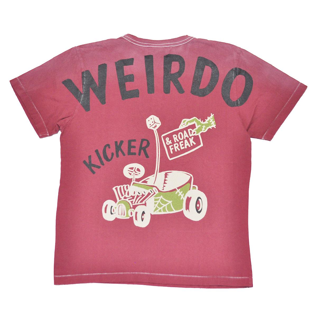 【残りSサイズのみ】WEIRDO ROAD FREAK KICKER - S/S T-SHIRTS (BURGUNDY) ウィアード ユーズド ビンテージ加工 Tシャツ/GLADHAND/グラッドハンド/GANGSTERVILLE/ギャングスタービル/OLD CROW/オールドクロウ