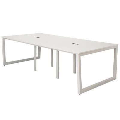 アールエフヤマカワ リスム フリーアドレス用テーブル W2400xD1200 ホワイトxホワイト脚 4ヶ口コンセント付 RFFLT-2412WH-WL