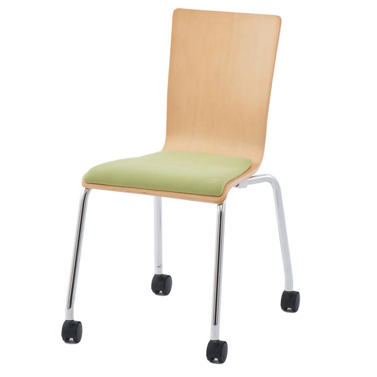 プライウッドキャスターチェア パッド付 /グリーン(1脚)RFC-FPCAGN【送料無料】 椅子 会議用椅子 会議椅子 キャスター付き イス ミーティングチェア カフェチェア ダイニングチェア ワークチェア スタッキングチェア スタックチェア
