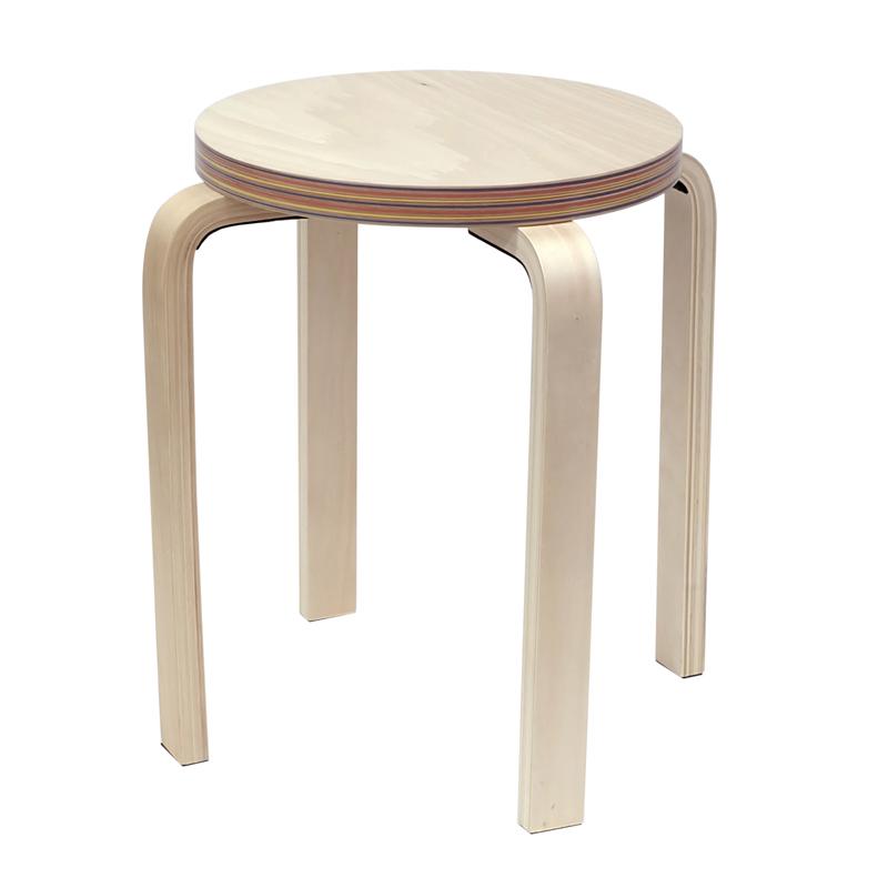[在庫限り]ペーパーウッドスツール / レインボー(1脚) RFSCPW-1RB【代引き不可】【送料無料】アールエフヤマカワ RFyamakawa 丸椅子 色紙 積層合板 ラウンドスツール ナチュラル
