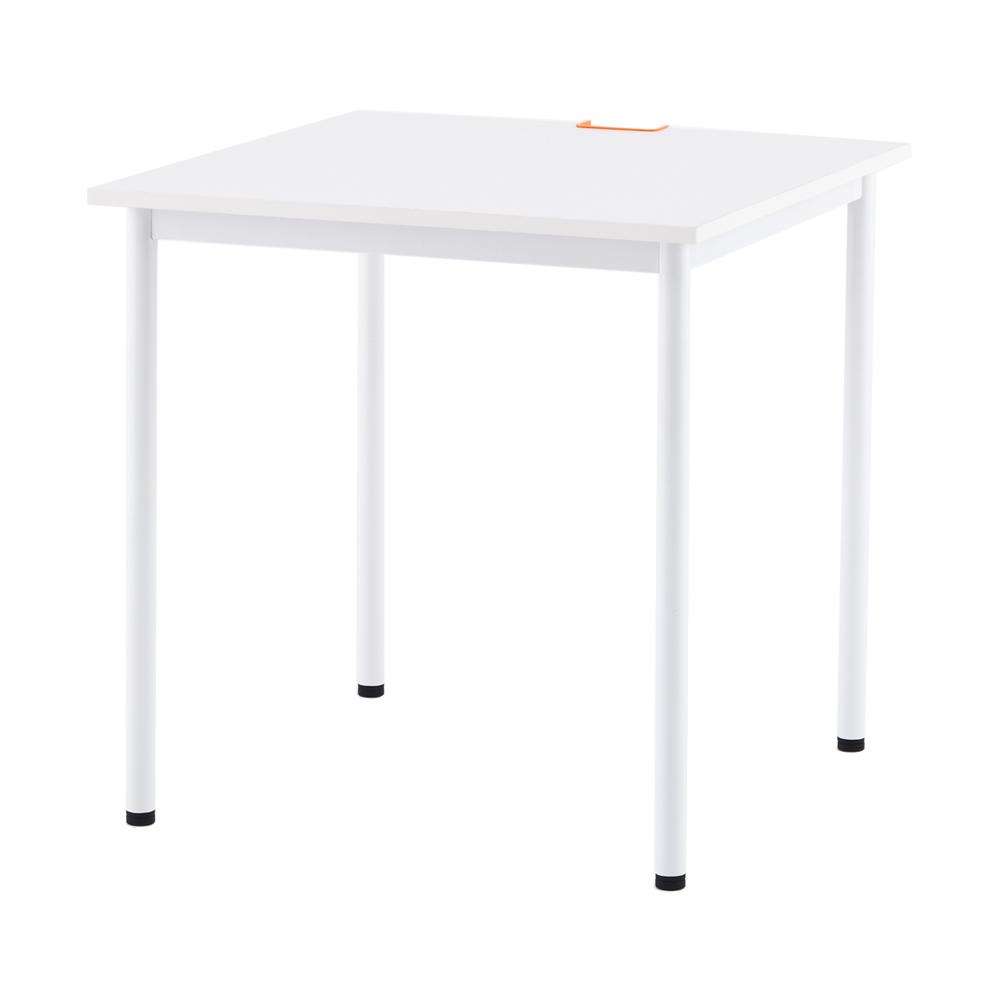 SHシンプルテーブル 700角 キャップ3色(WH,GN,OR)付き / ホワイト Z-SHST-700WHW【送料無料】【代引き不可】 アールエフヤマカワ RFyamakawa 机 テーブル デスク 事務 オフィス用