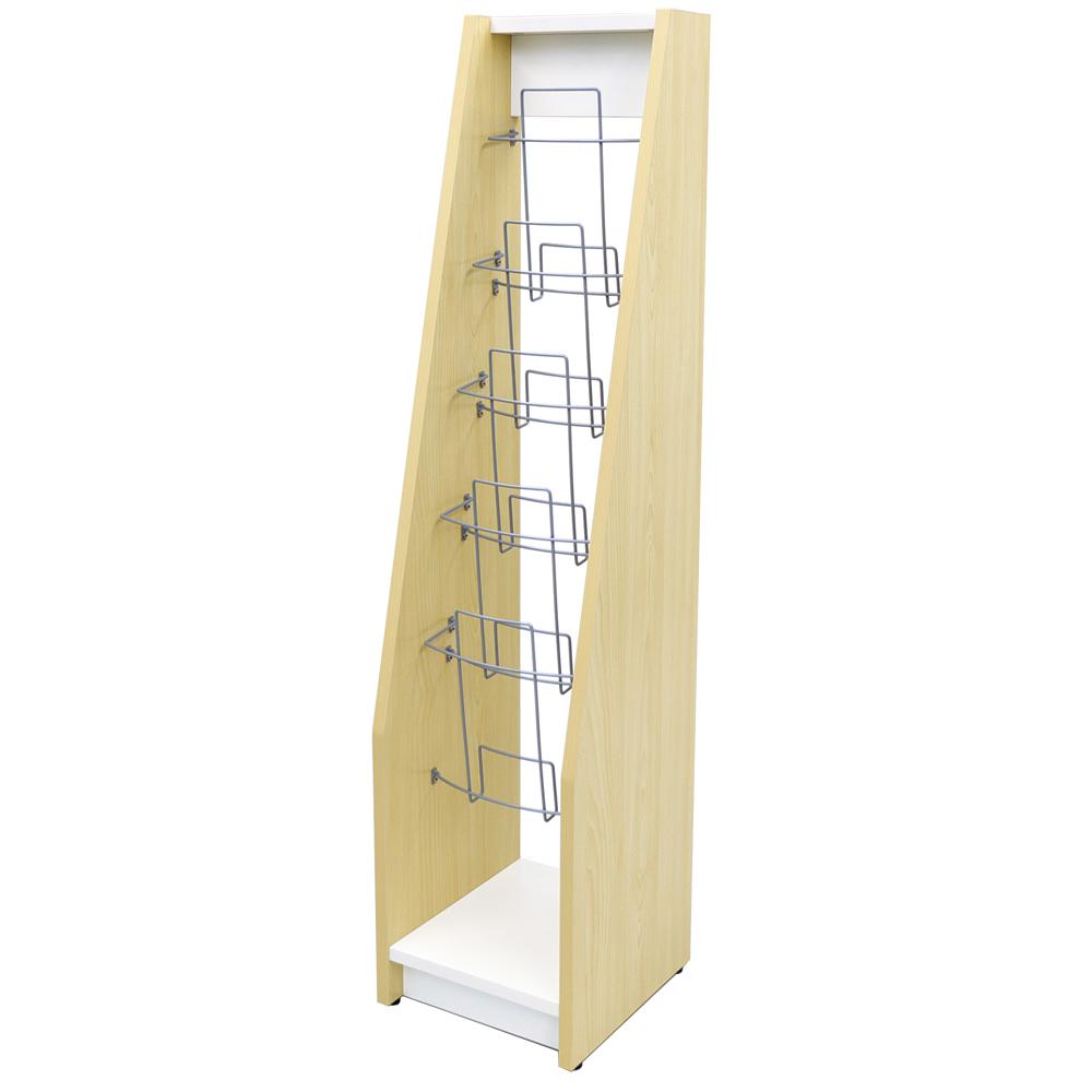 アールエフヤマカワ 木製カタログスタンド シングル ナチュラル×ホワイト SHKS2-001NW