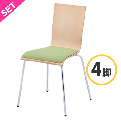 ウレタンパッドでソフトな座り心地 プライウッドチェア パッド付 倉庫 グリーン 4脚入 RFC-FPGN-4SET アールエフヤマカワ RFyamakawa 椅子 カフェチェア イス 35%OFF ミーティングチェア スタッキングチェア スタックチェア 会議椅子 ワークチェア ダイニングチェア 会議用椅子