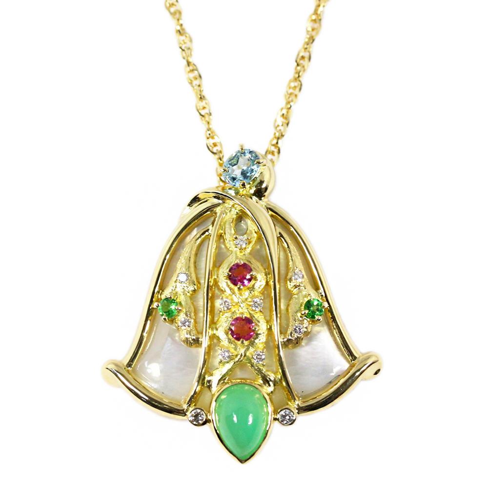 The Bible series multi-stone diamond necklace and broach pendant ペアー  cabochon  K18YG 24.4g MS16.00ct FD  0.16ct BIBLE series □ 205838 e3b90ba2f4c3d
