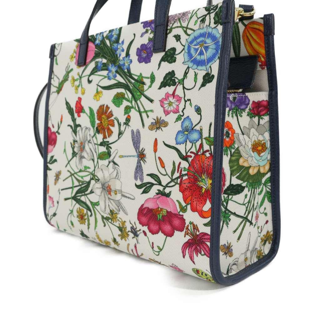 309e461fac79 Super beautiful article, Gucci Flora, 2WAY shoulder medium tote bag  /550141/ navy-blue / white / multi-/GUCCI/b190320 □ 283594