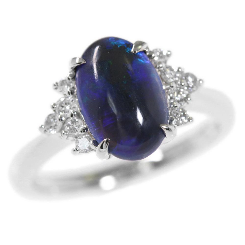 新品 オーストラリア ライトニング リッジ ブラック オパール ダイヤモンドリング 指輪 Pt900-5.0g OP1.244ct FD:0.16ct 中央宝石研究所ソーティング 10号 50 ♀ N レディース h190810 RF4 ?296208