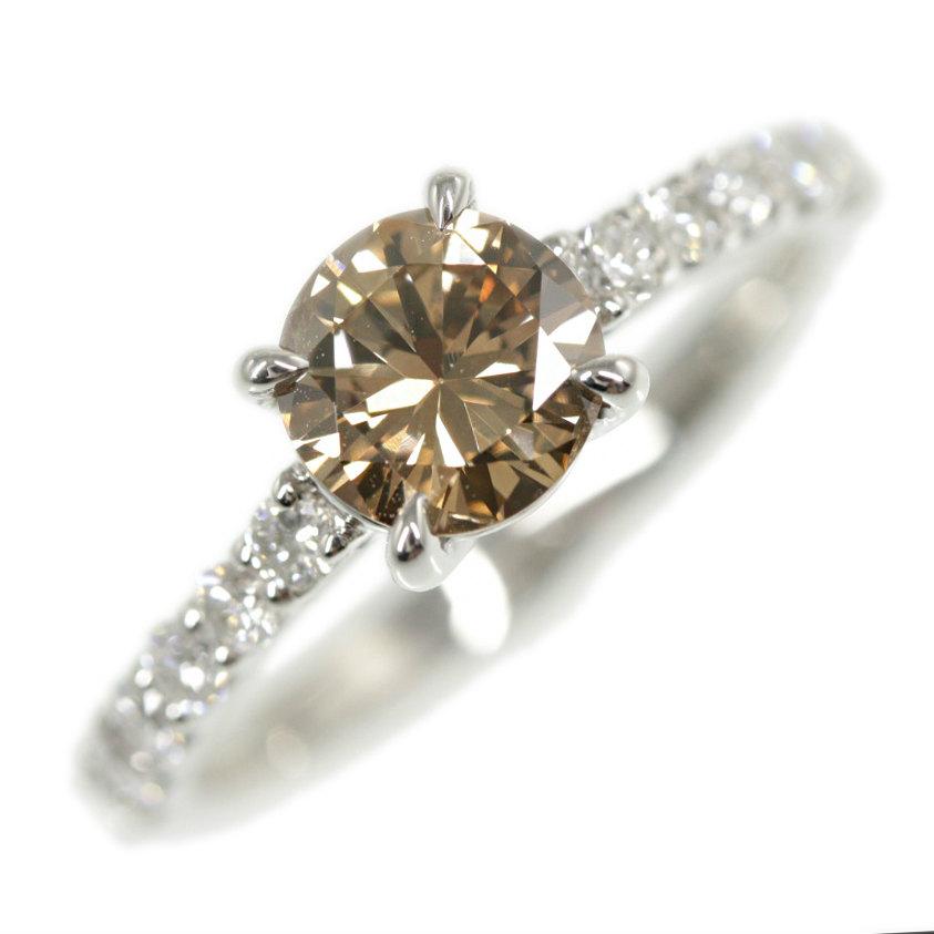 【新品】Fancy Brown・ダイヤモンドリング・指輪・天然/Pt900-3.9g/1.01ct/12.5号/#52.5/プラチナカラー×ファンシーブラウン【♀】【N】【レディース】【h200107】【RF5】■314771