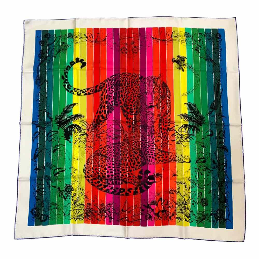 超美品・19AW エルメス ロベール・ダレ・カレ90・Jungle Love Rainbow・ジャングルラブレインボー・シルクツイルスカーフネックウェア/H003369S/HERMES【オールシーズン】【♀】【S】【レディース】/b200418★【RF2】■339656【中古】