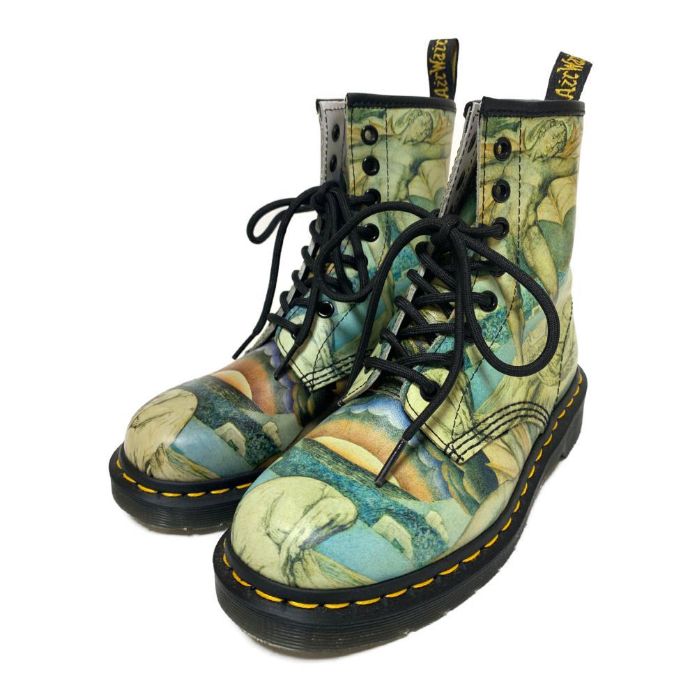 超美品・ドクターマーチン Tate Britain WILLIAM BLAKE BACHAND・ブーツ靴 8ホール/1460/UK4/EU37(23.0cm相当)/ライトカーキ/Dr.Martens【オールシーズン】【♀】【S】【レディース】/b200425★【RF1】■340415【中古】