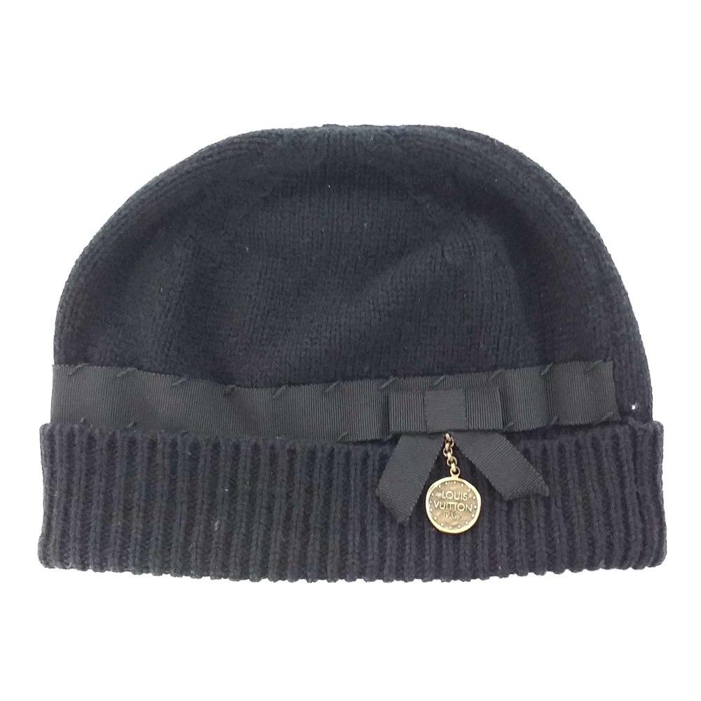 ルイヴィトン チャーム付きニットキャップ(ニット帽)帽子/ブラック/LOUIS VUITTON【♀】【B】【レディース】/b200509★■341235【中古】