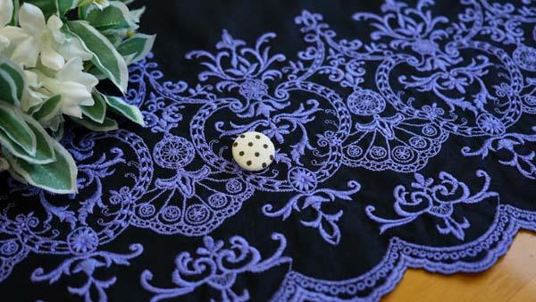 レース生地 刺繍 生地 布 片スカラップレース 人気商品 先染め綿ローン ラッピング無料 RG-28093