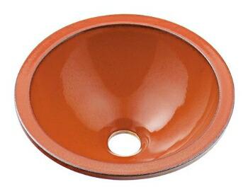 手洗い器 和風 カクダイ 手洗器 【493-013-R】 丸型手洗器//鉄赤